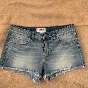 """Pink"" brand denim cut off shorts."